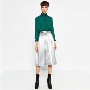 Zara Silver Metallic Pleated Midi Skirt